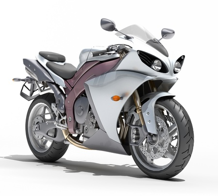Powerful sports motorcycle isolated on a white studio background 版權商用圖片