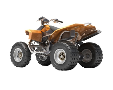 dirt road recreation: Quad All Terrain Vehicle isolated on white background