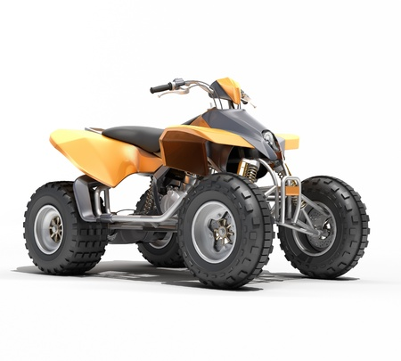 Quad All Terrain Vehicle isolated on white background
