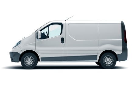 delivery van: Commercial vehicle in the studio on a light background