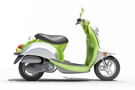 motor de carro: Moto verde de cerca sobre un fondo claro
