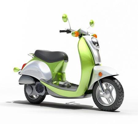 Green scooter close up on a light background