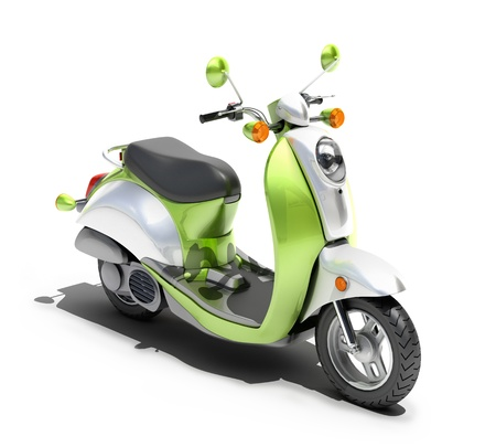 maneuverability: Green scooter close up on a light background
