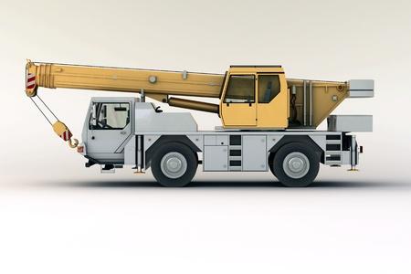 loads: Mobile crane in studio on light background
