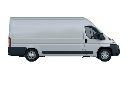 moving van: Commercial vehicle in the studio on a light background