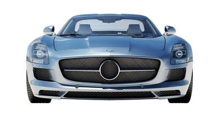 supercar: Sport supercar isolated on a light background, the bright sunlight Stock Photo