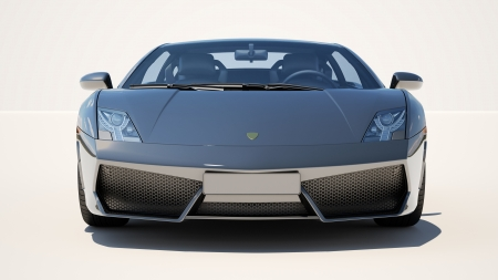 front view: Sport supercar on a light background, the bright sunlight
