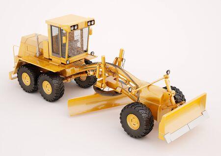 Modern three-axle road grader on a light background