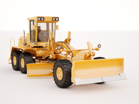 maintainer: Modern three-axle road grader on a light background