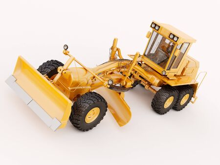 Modern three-axle road grader on a light background Stock Photo - 21015308