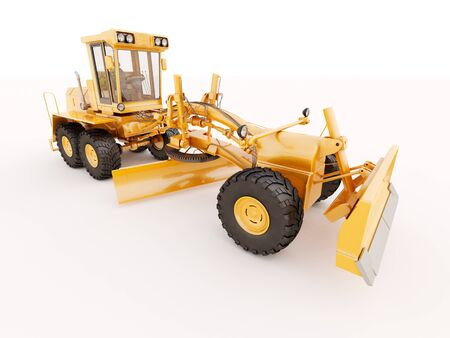 Modern three-axle road grader on a light background photo