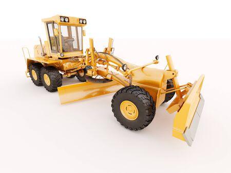 Modern three-axle road grader on a light background Stock Photo - 21015309