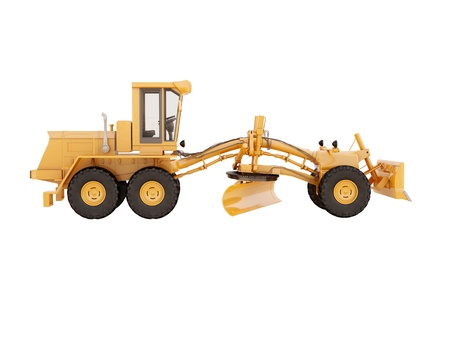 Modern three-axle road grader isolated on a white background Stock Photo - 21015320