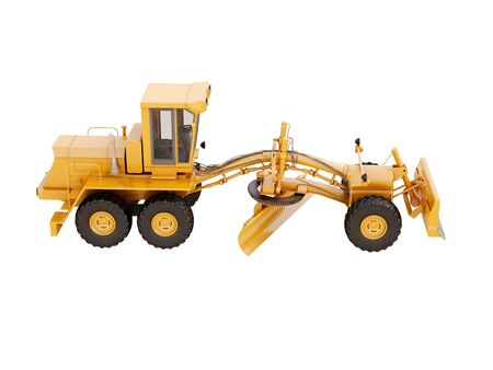 grader: Modern three-axle road grader isolated on a white background