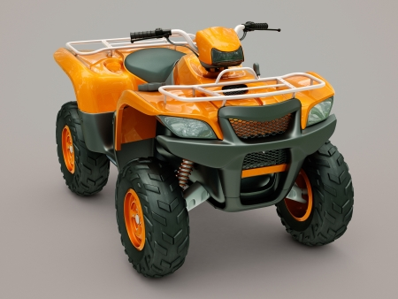 dirt road recreation: Sports quad bike on a grey background Stock Photo