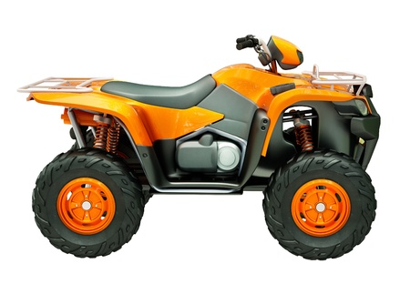 dirt road recreation: Sports quad bike isolated on a light background Stock Photo