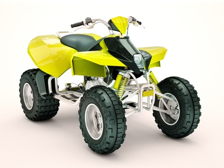 dirt road recreation: Sports quad bike on a light background