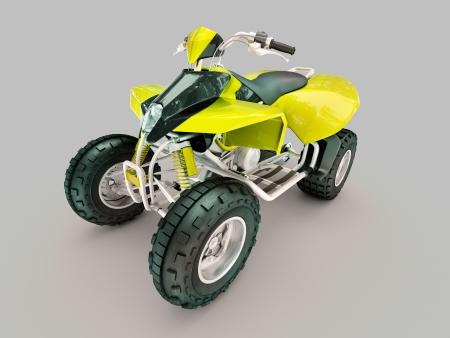crosscountry: Sports quad bike on a grey background Stock Photo