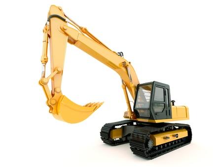 power shovel: 건설 무거운 기계 : 빛 그림자와 흰 배경에 고립 된 굴착기