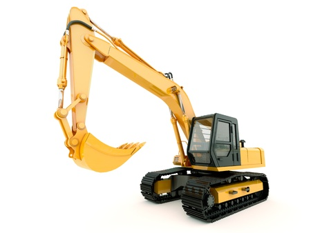 excavator: Construction heavy machine: excavator isolated on white background with light shadow