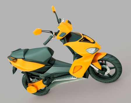 Modern powerful sports scooter on a grey background photo
