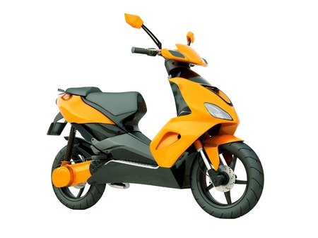 Modern powerful sports scooter isolated on a white background