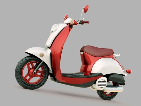bella: Modern classic scooter on a grey background Stock Photo
