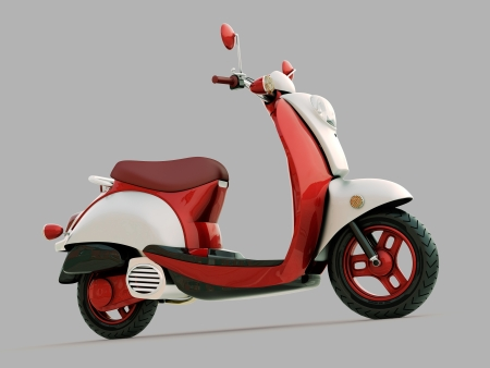 Modern classic scooter on a grey background photo