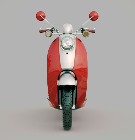 Modern classic scooter on a grey background Standard-Bild