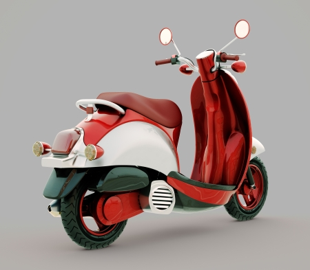 moped: Modern classic scooter on a grey background Stock Photo