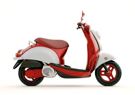 Modern classic scooter on a light background