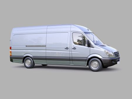 embark: Modern commercial van on a gray background