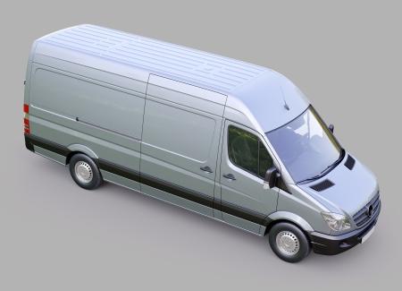 panel van: Modern commercial van on a gray background