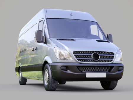 Modern commercial van on a gray background Stock Photo - 21584188