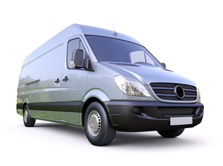 Modern commercial van on a light background