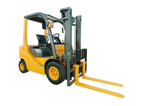 Modern forklift truck isolated on white background photo
