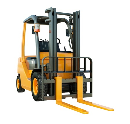 walkie: Modern forklift truck isolated on white background