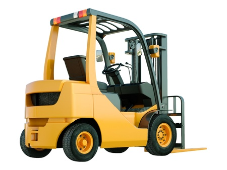 counterbalanced: Modern forklift truck isolated on white background