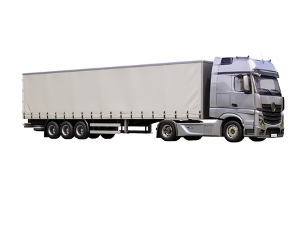 18 wheeler: A modern semi-trailer truck isolated on white background