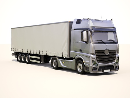 hauling tractor: A modern semi-trailer truck on light background