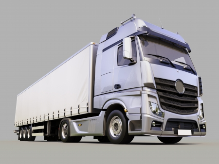 A modern semi-trailer truck on gray background photo