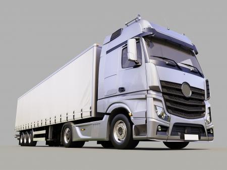 camión: Un moderno cami�n semi-remolque de fondo gris Foto de archivo