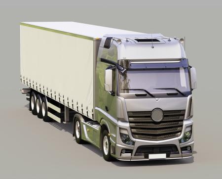 A modern semi-trailer truck on gray background