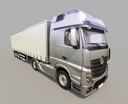 18 wheeler: A modern semi-trailer truck on gray background