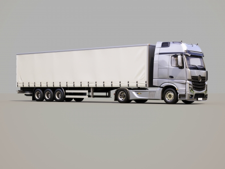 18 wheeler: A modern semi-trailer truck on gray background