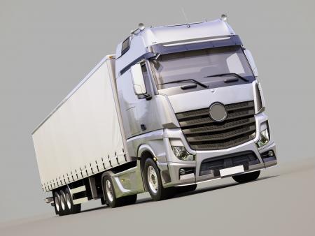 autotruck: A modern semi-trailer truck on gray background