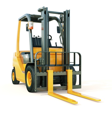Modern forklift truck on light background Stock Photo