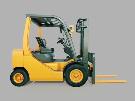 Modern forklift truck on gray background Stock Photo