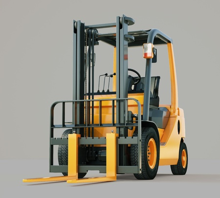 Modern forklift truck on gray background photo