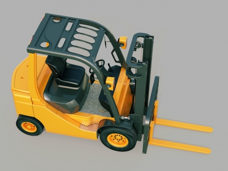 counterbalanced: Modern forklift truck on gray background Stock Photo